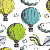 Hot Air Balloons and birds background Stock Photos