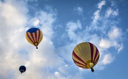 Hot air balloons. In a blue hour sky Stock Photo