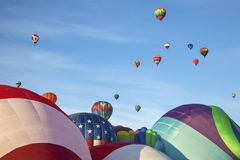 Hot air balloons and blue sky Stock Photo