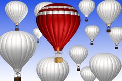 Hot air balloons on a blue sky. Background. 3d illustration Royalty Free Stock Image