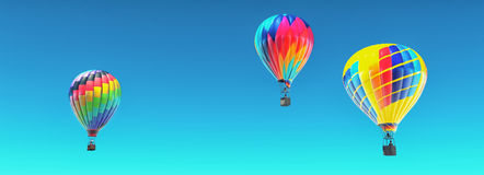 The hot air balloons in blue sky. This is a 3d render illustration Royalty Free Stock Photos