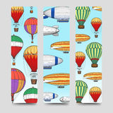 Hot air balloons bookmarks set Royalty Free Stock Photo