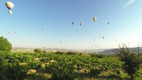 Air balloons in Cappadocia time-lapse stock footage