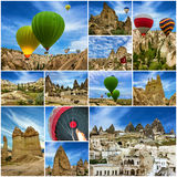 Hot air balloons in Cappadocia, Turkey. Collage Royalty Free Stock Photography