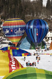Hot air balloons at Chateau D'Oex royalty free stock photos