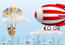 The hot air balloons with children Royalty Free Stock Image