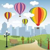 Hot Air Balloons in the City. Illustration of hot air balloons in the city Stock Photos