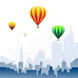 Hot Air Balloons on City Morning-Vector Royalty Free Stock Image