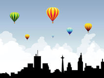 Hot Air Balloons on City Sky-Vector Royalty Free Stock Photo