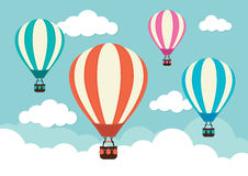Hot Air Balloons. 4 hot air balloons in the clouds Royalty Free Stock Image