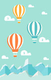 Hot Air Balloons, Clouds, Mountains. Infographic Design Template Stock Photography