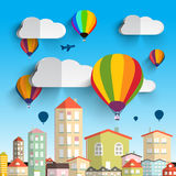 Hot Air Balloons with Clouds Royalty Free Stock Images