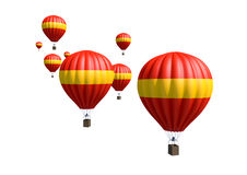 Hot Air Balloons. A collection of red and yellow hot air balloon isolated on white background Stock Image