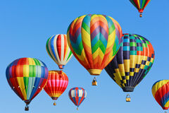 Hot air balloons. Colorful hot air balloons over blue sky