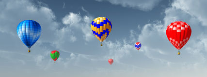 Hot air balloons. Computer generated 3D illustration with hot air balloons Royalty Free Stock Photos
