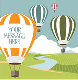 Hot air balloons with copy space Stock Images