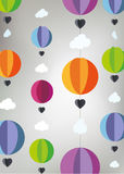 Hot air balloons cut from paper with clouds and hearts Stock Images