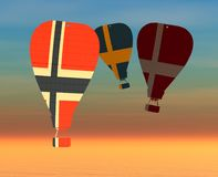 Hot air balloons. 3d illustration of hot air balloon and  sky Royalty Free Stock Image