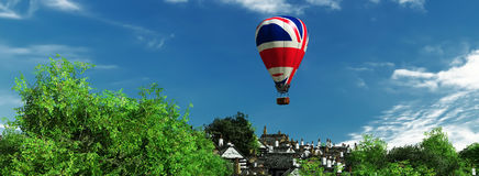 Hot air balloons. 3d illustration of hot air balloon and  sky Stock Image