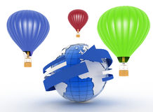 Hot air balloons. 3d illustration Royalty Free Stock Photography