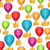 Hot air balloons with delivery boxes. Seamless pattern of shipping goods by air Royalty Free Stock Photography