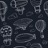 Hot Air Balloons doodle seamless pattern. Vintage illustration Royalty Free Stock Photos