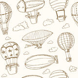 Hot Air Balloons doodle seamless pattern. Vintage illustration Royalty Free Stock Photo