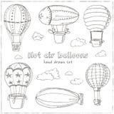 Hot Air Balloons doodle set. Vintage illustration Stock Image