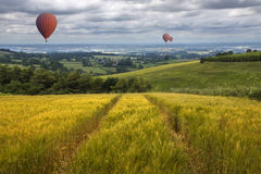 Hot Air Balloons - East Yorkshire Wolds - England Stock Image