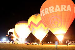 Hot air balloons. Ferrara, Italia - September 12, 2015: The photo was made at the Ballons Festival at Ferrara on september 12, 2015. The glow of a hot air Stock Photography