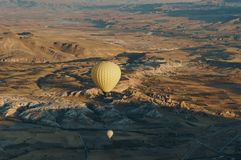 Hot air balloons festival in Goreme national park, fairy chimneys,. Cappadocia, Turkey stock photos