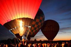 Hot air balloons festival in Pereslavl-Zalessky, Yaroslavl Oblast. Night flying in 16 july 2016. Royalty Free Stock Photo