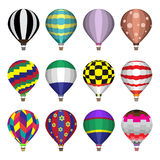 Hot air balloons flat icons vector illustration