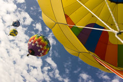 Hot air balloons in flight. Hot air balloons at the Festival internacional del globo in Leon Mexico Royalty Free Stock Images