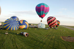 Hot air balloons flight. Hot Air Ballooning flight transportation Royalty Free Stock Photography