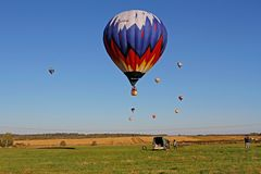 Hot air balloons in flight at the festival of aeronautics in Pereslavl-Zalessky. Pereslavl-Zalessky, Russia - September 23, 2017: Hot air balloons in flight at royalty free stock image