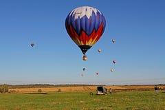 Hot air balloons in flight at the festival of aeronautics in Pereslavl-Zalessky. Pereslavl-Zalessky, Russia - September 23, 2017: Hot air balloons in flight at royalty free stock photo