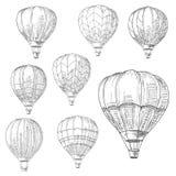 Hot air balloons in flight, retro sketches Stock Photos