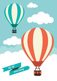 Hot Air Balloons. Floating in a cloudy sky Stock Photo