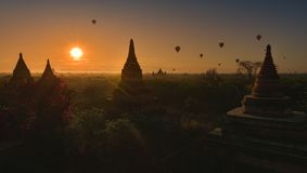 Hot air balloons floating at sunrise over Bagan  Myanmar