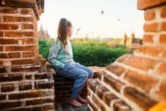 Hot air balloons fly over Bagan temples