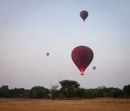 Hot air balloons flying in Bagan, Myanmar.  royalty free stock photos