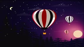 Hot air balloons are flying in dawn night with moon. S royalty free illustration
