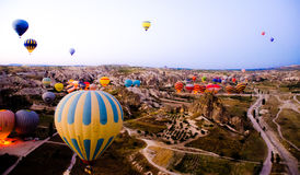 Hot air balloons. Flying in the mroning royalty free stock images