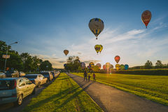 Hot Air Balloons Flying Over Birstonas City