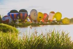 Hot air balloons flying over Birstonas city Royalty Free Stock Photo