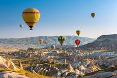 Hot air balloons flying over Cappadocia, Turkey Royalty Free Stock Photography