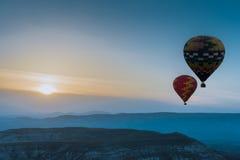 Hot air balloons flying over Cappadocia, Turkey Stock Image