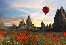 Hot air balloons flying over Cappadocia, Turkey Royalty Free Stock Photography