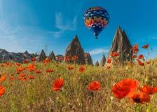 Hot air balloons flying over Cappadocia, Turkey Stock Photography